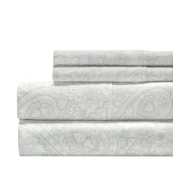 Alexis Paisley Print 300 Thread Count 100% Cotton 4 Piece Sheet Set by The Twillery Co.